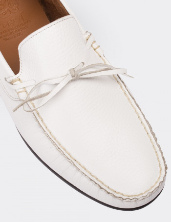 Hakiki Deri Beyaz Loafer Erkek Ayakkabı
