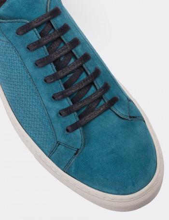 Hakiki Süet Mavi Sneaker Erkek Ayakkabı