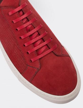 Hakiki Süet Kırmızı Sneaker Erkek Ayakkabı