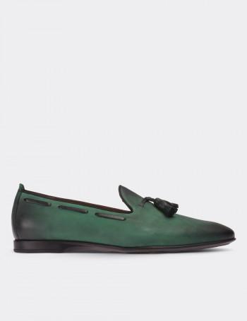 Hakiki Antik Deri Yeşil Loafer Erkek Ayakkabı