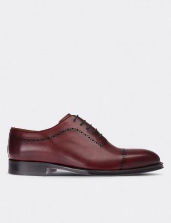 Hakiki Deri Bordo Kösele Erkek Klasik Ayakkabı