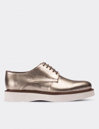 Hakiki Antik Deri Altın Rengi Günlük Kadın Ayakkabı