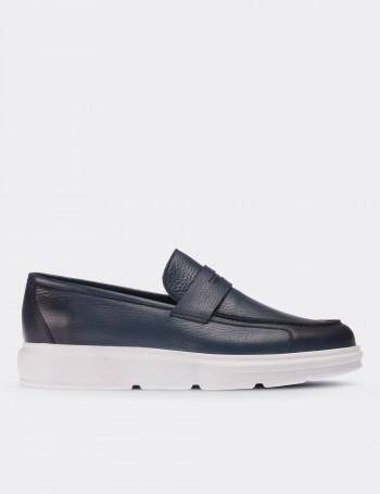 Hakiki Deri Mavi Comfort Loafer Erkek Ayakkabı