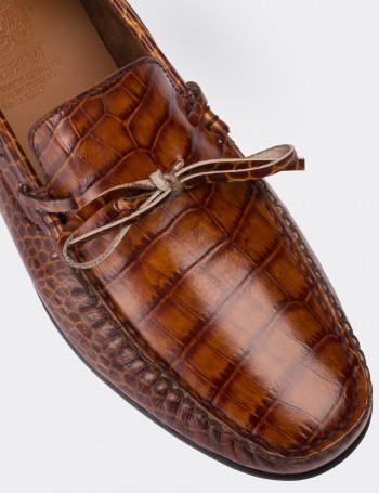 Hakiki Deri Kroko Taba Rengi Loafer Erkek Ayakkabı