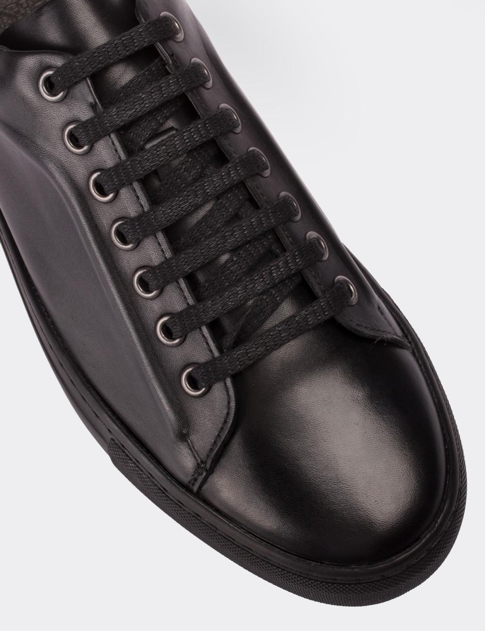 Hakiki Deri Siyah Sneaker Erkek Ayakkabı - 01669MSYHC01