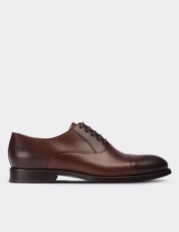 Hakiki Deri Özel Üretim Kahverengi Kösele Erkek Ayakkabı