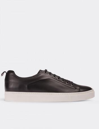 Hakiki Deri Siyah Sneaker Erkek Ayakkabı