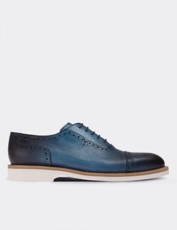 Hakiki Deri Mavi Finisajlı Günlük Erkek Ayakkabı