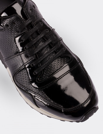 Hakiki Deri Siyah Spor Kadın Ayakkabı