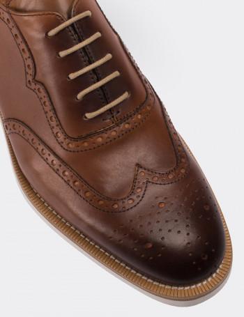 Hakiki Deri Taba Rengi Oxford Erkek Ayakkabı
