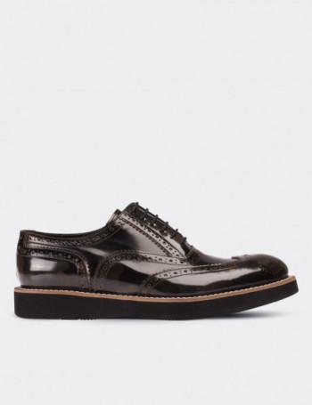 Hakiki Deri Kamuflaj Desenli Oxford Erkek Ayakkabı