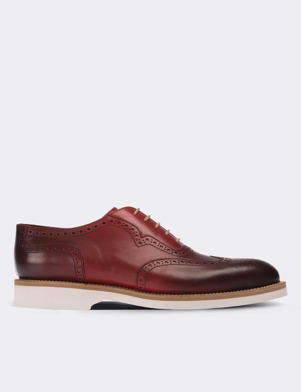 Hakiki Deri Bordo Günlük Erkek Ayakkabı - 01676MBRDE01