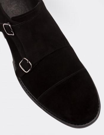 Hakiki Süet Çift Tokalı Siyah Günlük Erkek Ayakkabı