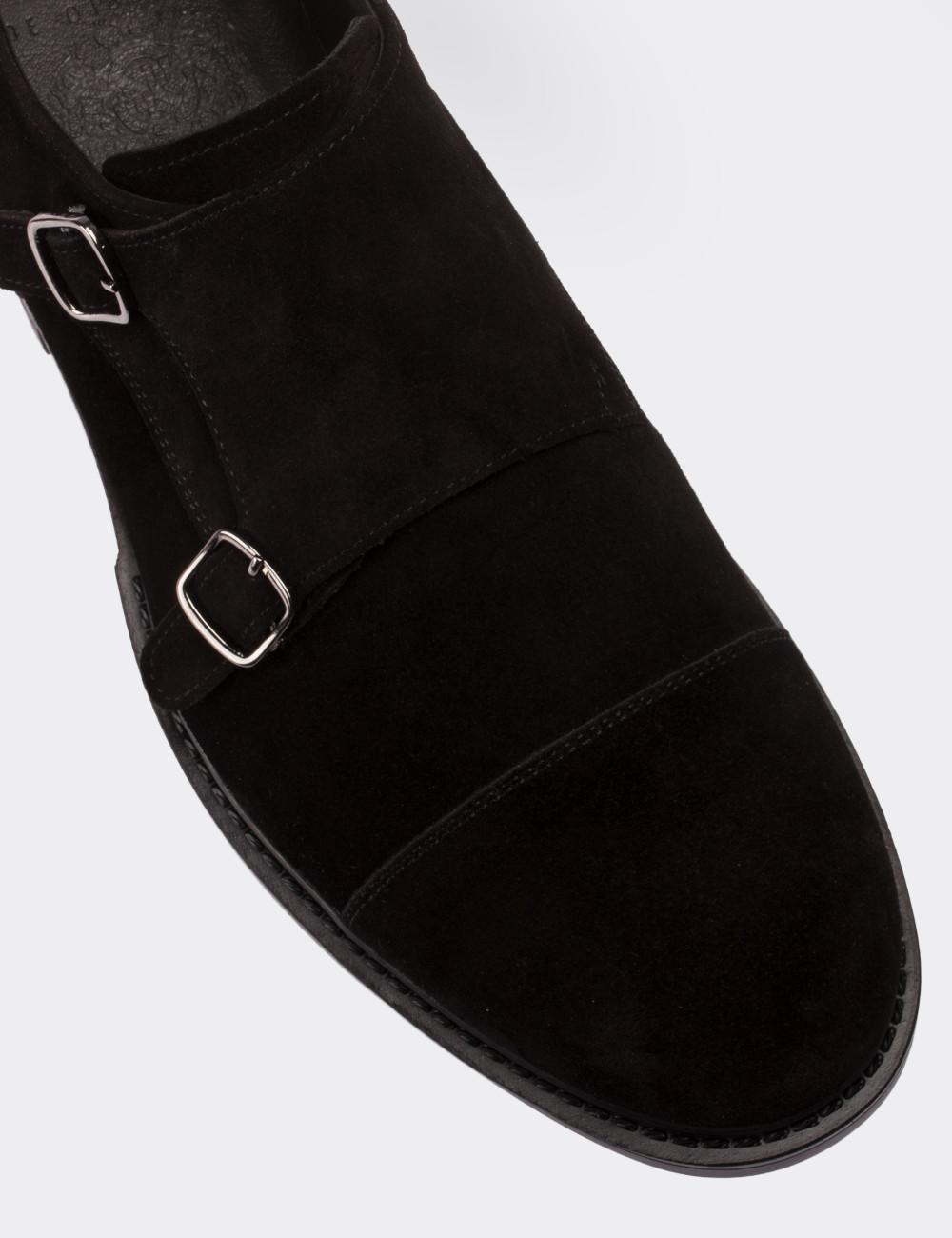 Hakiki Süet Çift Tokalı Siyah Günlük Erkek Ayakkabı - 01625MSYHC01