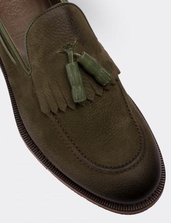Hakiki Nubuk Yeşil Loafer Erkek Ayakkabı
