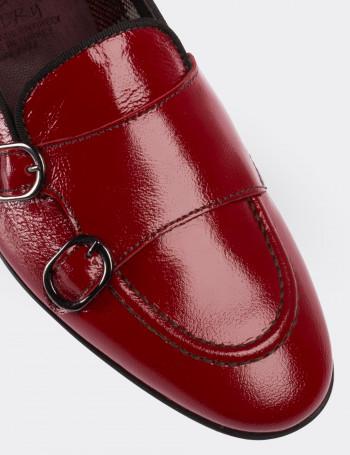 Hakiki Rugan Kırmızı Loafer Kadın Ayakkabı