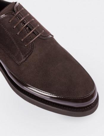 Hakiki Deri Kahverengi Rugan Kombineli Süet Ayakkabı