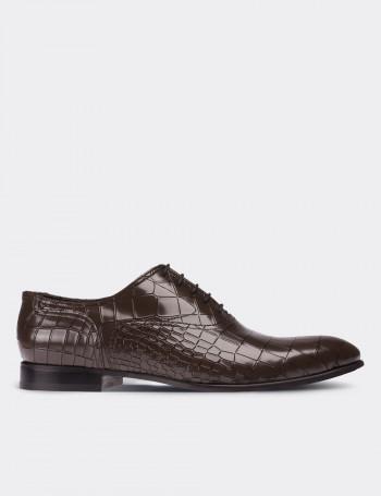 Hakiki Deri Kroko Gri Klasik Erkek Ayakkabı