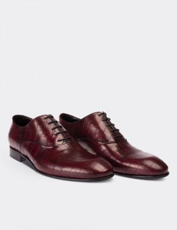 Hakiki Deri Kroko Bordo Klasik Erkek Ayakkabı