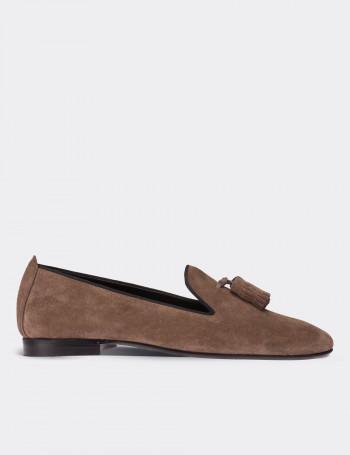 Hakiki Süet Vizon Rengi Loafer Kadın Ayakkabı