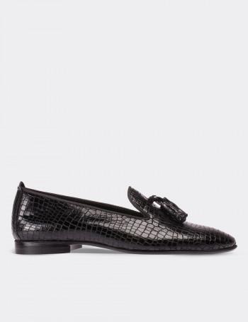 Hakiki Rugan Siyah Loafer Kadın Ayakkabı