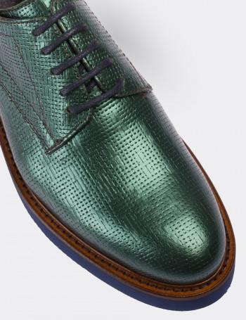Hakiki Deri Yeşil Günlük Kadın Ayakkabı