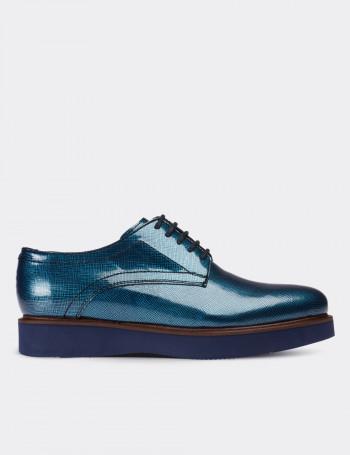 Hakiki Rugan Mavi Günlük Kadın Ayakkabı