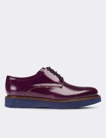 Hakiki Rugan Mor Günlük Kadın Ayakkabı
