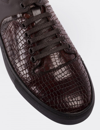 Hakiki Rugan Kroko Kahverengi Sneaker Erkek Ayakkabı