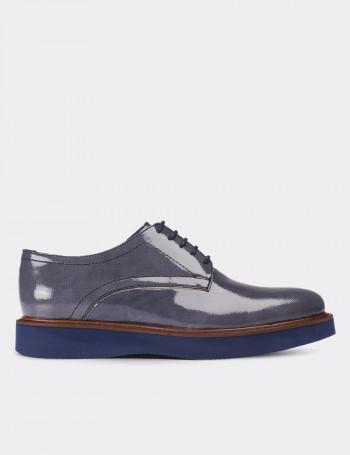 Hakiki Rugan Gri Günlük Kadın Ayakkabı