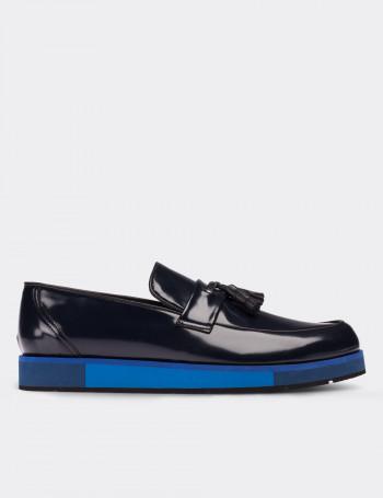 Hakiki Rugan Lacivert Loafer Erkek Ayakkabı