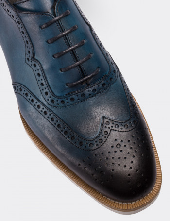Hakiki Deri Mavi Günlük Erkek Ayakkabı