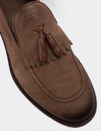 Hakiki Nubuk Vizon Rengi Loafer Erkek Ayakkabı