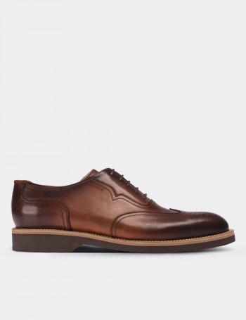 Hakiki Deri Kahverengi Oxford Günlük Erkek Ayakkabı