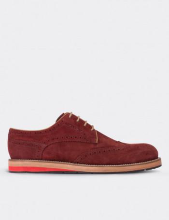Hakiki Süet Kırmızı Oxford Erkek Ayakkabı