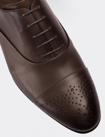 Hakiki Deri Vizon Rengi Klasik Erkek Ayakkabı