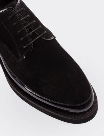 Hakiki Deri Siyah Rugan Kombineli Süet Ayakkabı