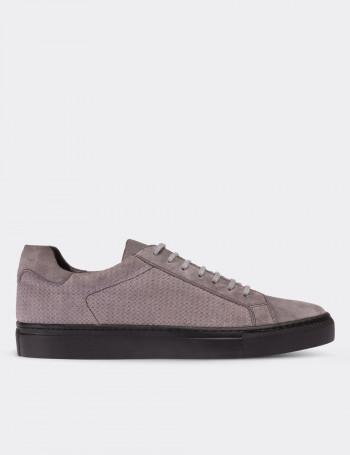 Hakiki Süet Gri Sneaker Erkek Ayakkabı