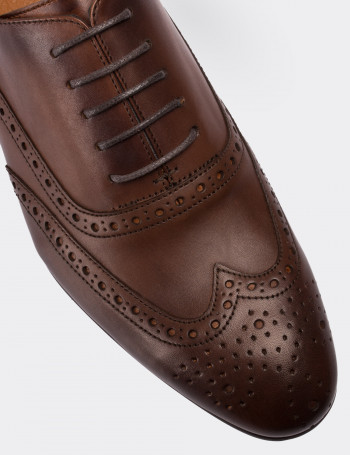 Hakiki Deri Kahverengi Klasik Erkek Ayakkabı