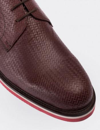 Hakiki Deri Örgü Desen Bordo Erkek Ayakkabı