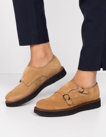 Hakiki Süet Çift Tokalı Taba Rengi Kadın Ayakkabı