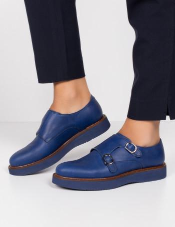 Hakiki Deri Çift Tokalı Mavi Kadın Ayakkabı