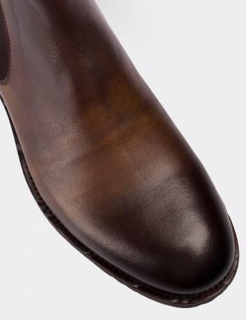 Hakiki Deri Vintage Kahverengi Chelsea Erkek Bot