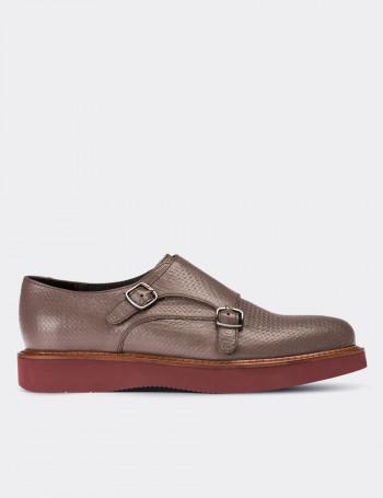 Hakiki Deri Vizon Rengi Çift Tokalı Kadın Ayakkabı
