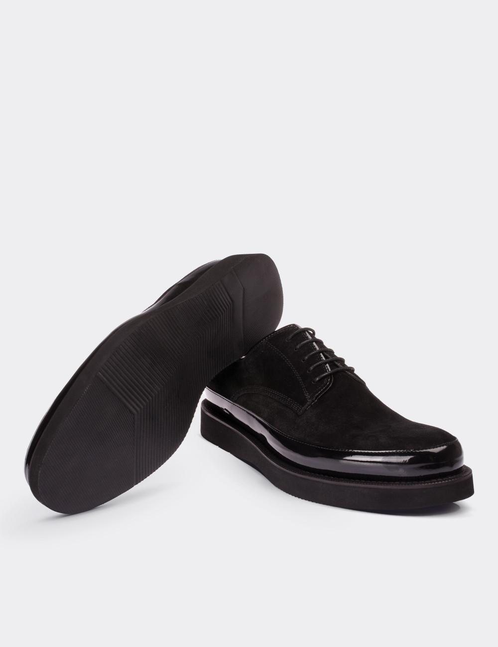 Hakiki Deri Siyah Rugan Kombineli Süet Ayakkabı - 01113MSYHE01
