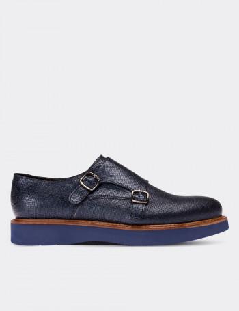 Hakiki Deri Lacivert Tokalı Kadın Ayakkabı