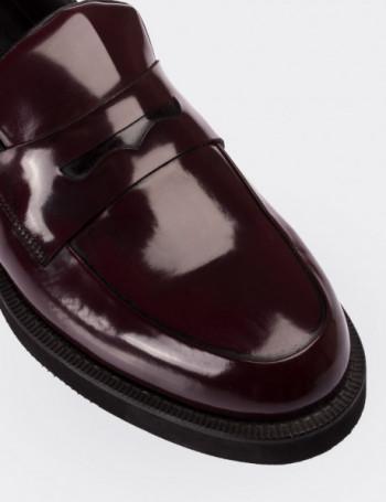 Hakiki Deri Bordo Loafer Erkek Ayakkabı