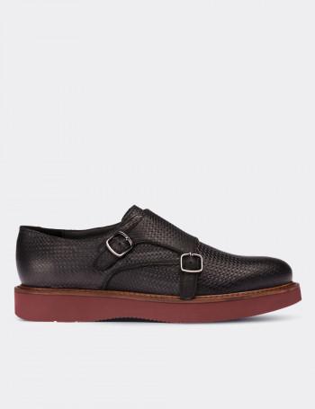 Hakiki Deri Siyah Çift Tokalı Kadın Ayakkabı