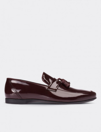 Hakiki Rugan Püsküllü Bordo Loafer