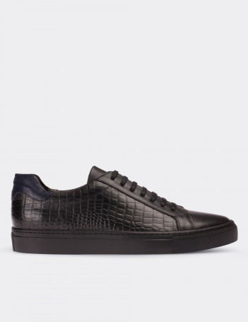 Hakiki Deri Kroko Siyah Sneaker Erkek Ayakkabı
